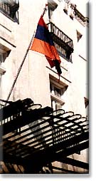 The flag of Armenia over the entrance to the Chancery, near Massachusetts Avenue's