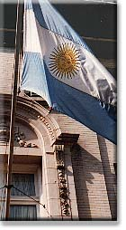 The Argentine flag hanging outside of the Chancery on New Hampshire Avenue.