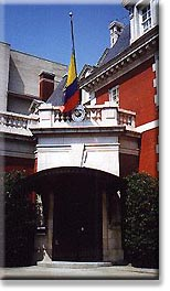 The Embassy of Colombia is adjacent to Dupont Circle, where Embassy Row intersects Connecticut Avenue.
