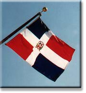 The flag of the Dominican Republic, at the Embassy.