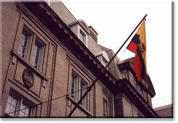 Flag and seal of Ecuador, on the Chancery facing Meridian Park.