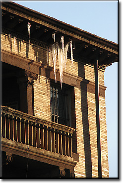 Icicles hanging from the eaves of the Iraqi embassy in March, 2009.