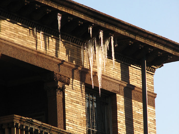 Icicles on the newly-opened Embassy of Iraq