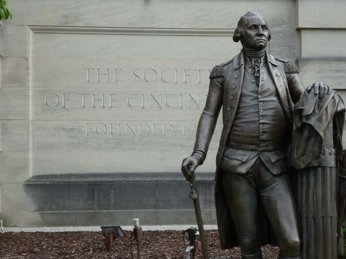 Statue of George Washington before the Society of Cincinnati on Massachusetts Avenue.