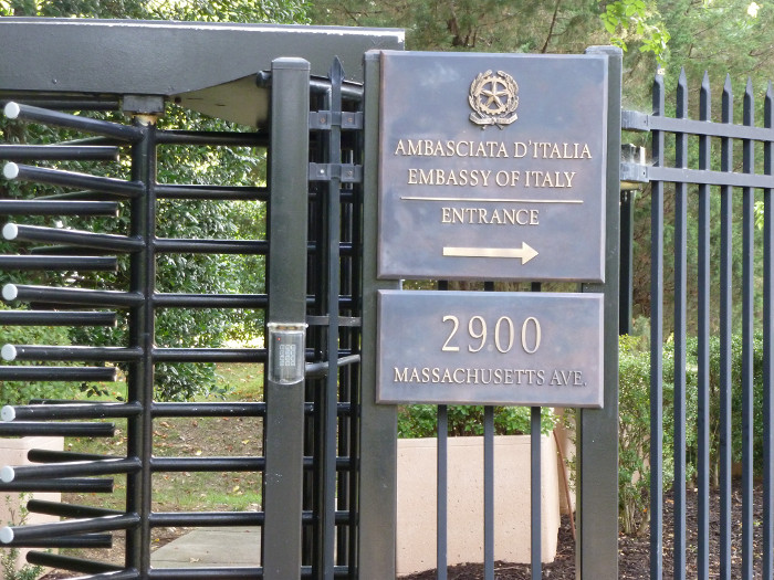 A gate at the Embassy of Italy.