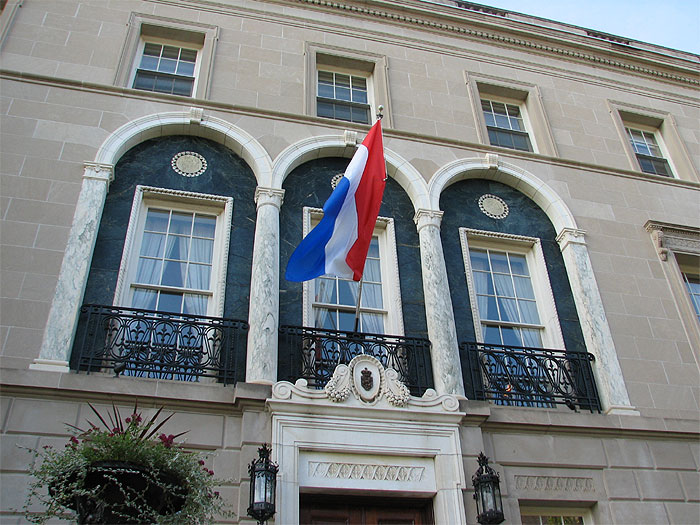 Tricolor flag and embassy